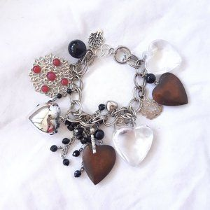 Chunky silver chain charm bracelet with toggle